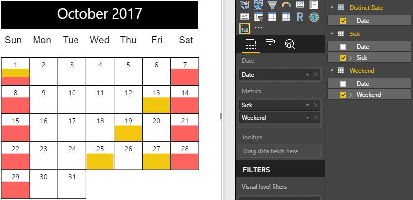 two values displayed on Custom Calendar
