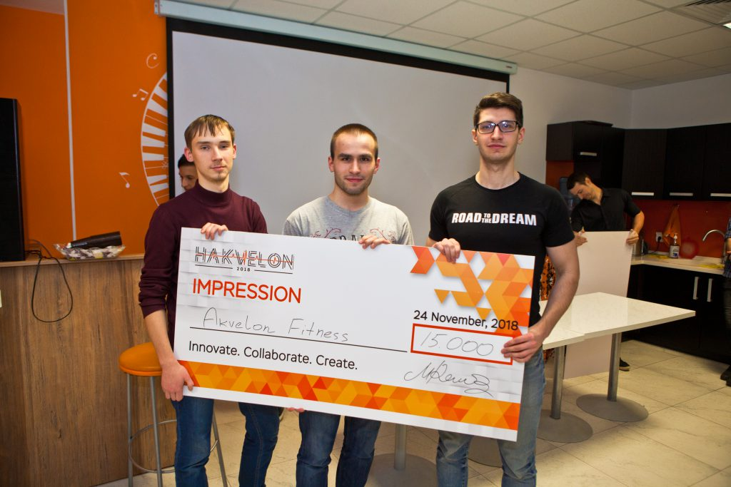 "The winners of the ""Best Wow Effect"" at Akvelon's Hakvelon competition"